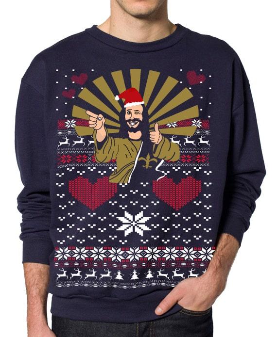 ugly christmas sweater jesus santa pullover sweatshirt s m l xl xxl - Jesus Santa