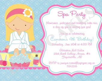 Spa Party Birthday Invitation Invite Spa Birthday Party Printable Invitation CHOOSE YOUR GIRL