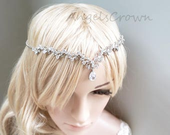 Silver bridal headpiece front wedding crown bridal head chain prom tiara circlet hair clip silver flower crown boho wedding hair jewelry