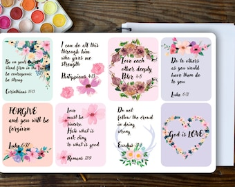 Christian Stickers, Bible Stickers, Christian Quotes, Bible Quote Stickers, ECLP, Christian Planner  Stickers