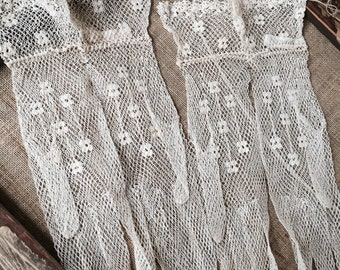 Antique Lace Gloves, Hand Made, Store Stock sold by the pair, store stock 1 pair.