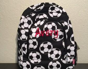 Soccer Print Monogrammed School Backpack