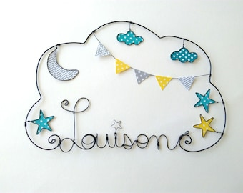 """Wire name customizable cloud """"to the clerk of the Moon in the night sky"""", baby room decoration"""
