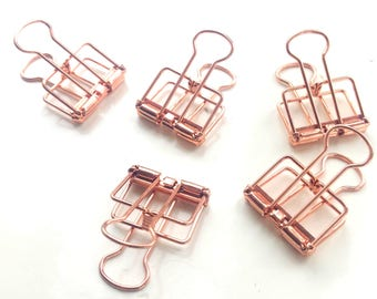 Set of 2 small Rose Gold Binder Clips — Frame Clips - Hollow Out Long Tail Clip