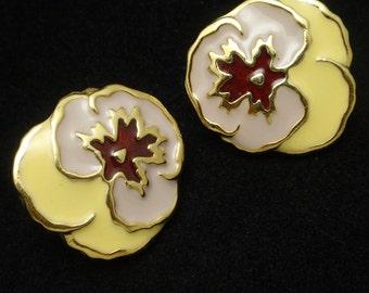 Enamel Pansy Flower Earrings with Clip Backs