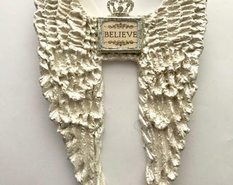 Believe Hand Sculpted Angel Wings made from clay and hand painted, guardian angel keepsake gift Precious Wings  by Pam