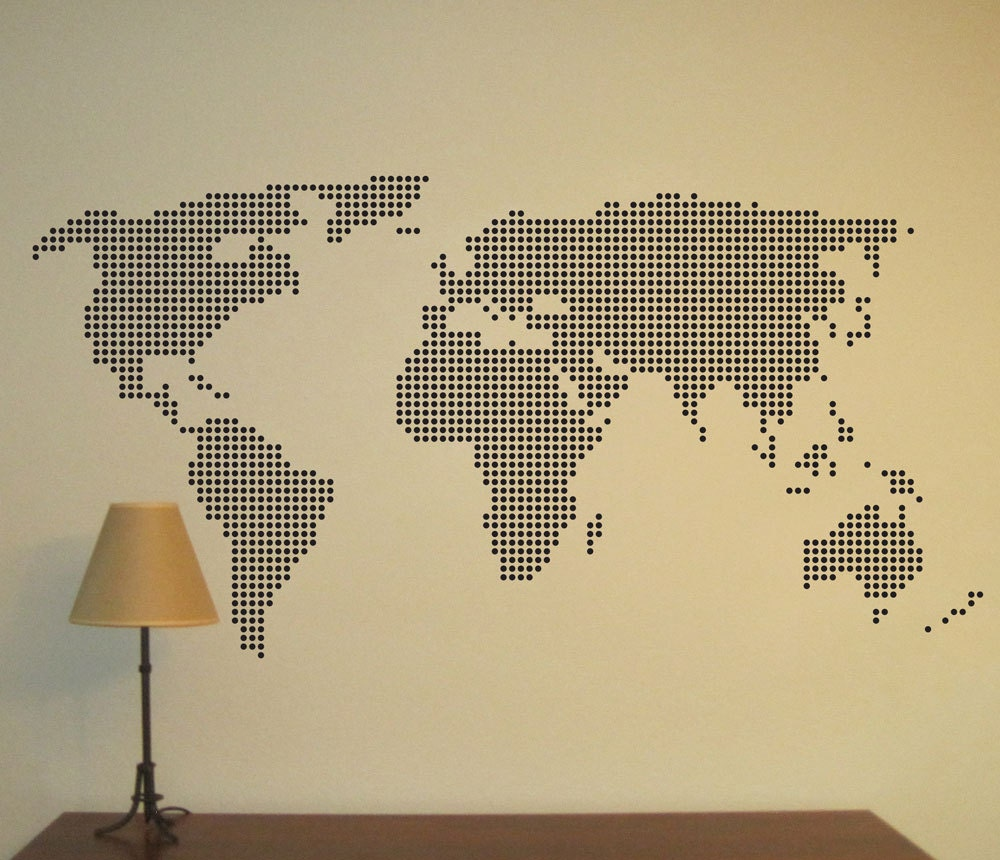 World Map Wall Decal World Map Sticker World Map Decal World
