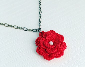 Hyde Park Crochet Necklace in Red, Crochet Flower, Flower Pendant, Mother's Day Gift, Gift Under 30, Rose Pendant, Cotton Anniversary
