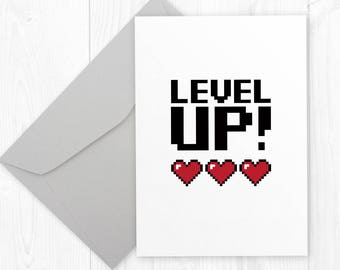 Geeky gamer birthday printable card for him - LEVEL UP - geeky anniversary greeting card for boyfriend or husband - nerdy promotion card
