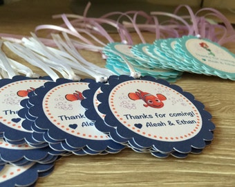 Finding Dory, Finding Nemo party favor tags with ribbon - Dory Party Favor Tags, Nemo tags, Nemo Dory Birthday tags, Just keep swimming