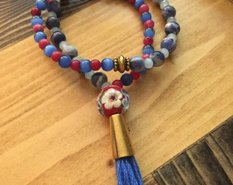 Blue/Red Double Wrap Mala Bracelet