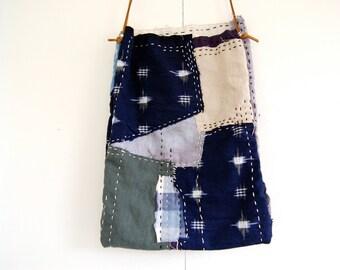 Hand-stitched cotton linen boro shibori ikat sashiko bag purse pouch