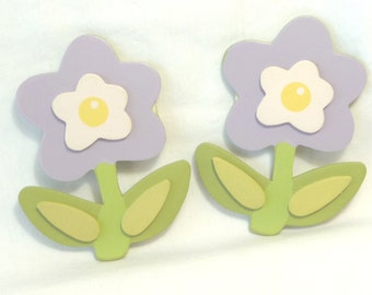 Wooden Flowers, Wood Cut Outs, Purple Flowers, Wood Embellishments, Two Flowers, Carft Supplies, Woodworking, Art Supplies, Small Flowers