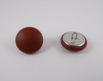 6-20mm Brown leather covered buttons