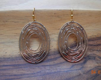 Gold-tone Oval Swirl Dangle Earrings