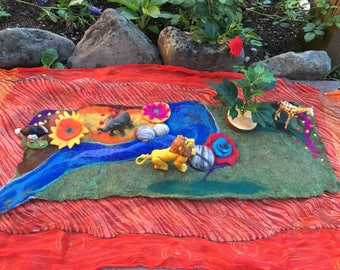 Wet-Felted Small World African Lion King Play Mat