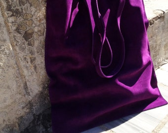 Shopper tote bag, suede leather in purple