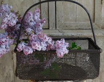 Vintage Industrial Wire Basket, Primitive Farmhouse Decor