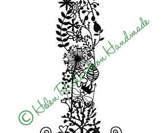 Floral Alphabet letter 'I' paper cutting template for PERSONAL USE