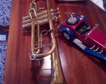 Old trumpet instrument -Trumpet instrument -Trumpet for interior -Brass  with copper  features -Original instrument -Retro trumpet