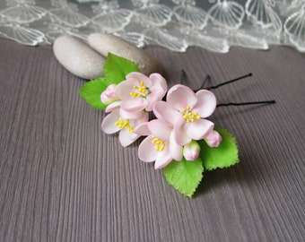 Romantic wedding hair pins Blush hair accessory Blush bridal flowers Blush wedding headband Blush hair pins Pink hair flowers wedding