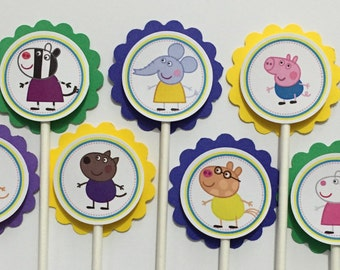 x24 Peppa Pig Inspired Cupcake Multi Color Toppers