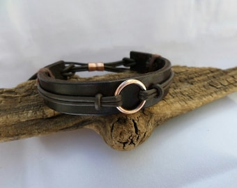 Hand Made Leather Bracelet, Copper Bracelet, Men's Leather Bracelet, Men's Copper bracelet, Leather Bracelet, ColeTaylorDesigns
