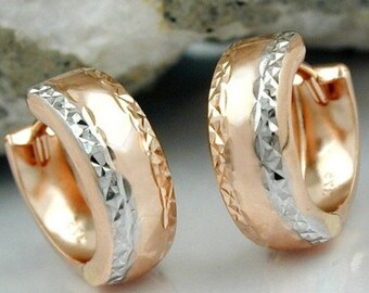 Creolen pair with unusual design, rhodium, 9Kt rose gold