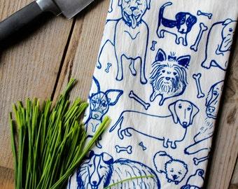 Flour Sack Tea Towel - Doggies  - Hand Printed Original illustration  - pets, kitchen, home, housewares, gift, mom, dad, men, women, humor