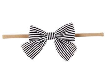 black and white striped bow headband