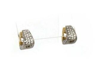 10680 - Estate 18k Two tone 1.50ct Pave Diamond Mini Hoop Earrings
