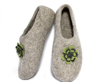 Succulent Gift House Shoes Plant Pin Felted Slippers, Plant Lady Leg Warmers Organic Wool Woolen Clogs, Nature Lover Gift Gardening for Mom