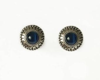 Vintage 1960's Silver Blue Cat's Eye Gemstone Round Sunburst Dome Clip On Statement Earrings