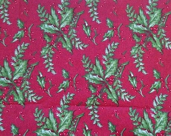 100% cotton fabric for Christmas, holiday mistletoes leaves