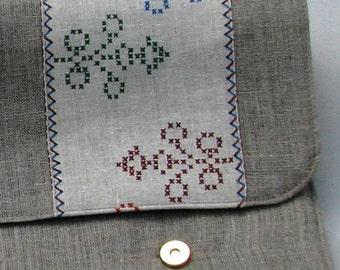 Linen Laptop sleeve- Ornaments Nationales-15 inch Macbook