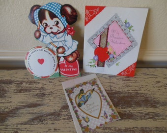 Three Vintage Valentines--Puppy, Precious, and Butterfly