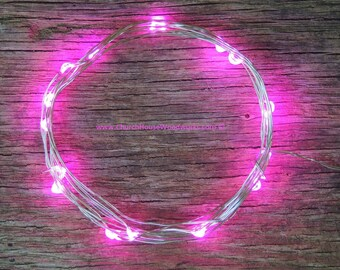 Pink LED Battery Operated Fairy Lights, LED String lights, Room Decor, 6.6 ft Silver Wire