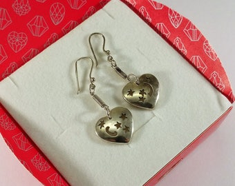Earrings Silver Heart Moon & Stars SO301