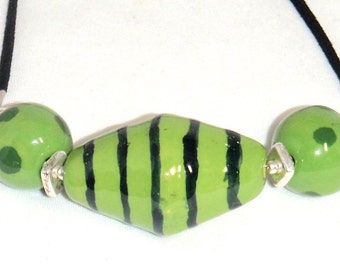 Green and Black Kazuri Fair Trade Beads Necklace