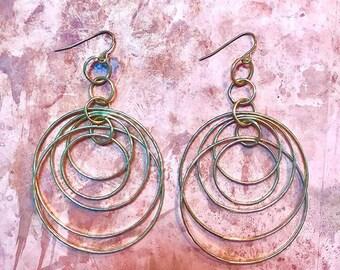 Gold multi hoops earrings