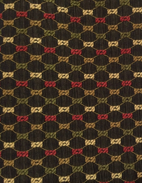 Black Diamond and Dot - Green - Red - Gold - Upholstery Fabric By ...