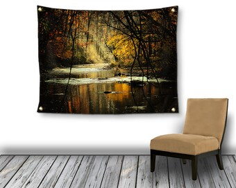 Gothic Wall Tapestry, Etheral Landscape Tapestry, Autumn Sun Rays Trees Photo Tapestry, Tapestry Wall Hanging, Bohemian Dorm Room Decor