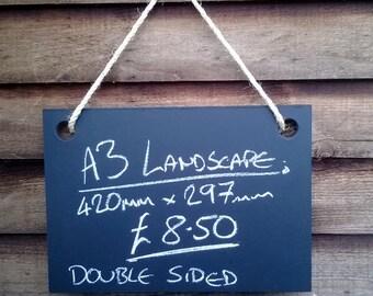 A3 Landscape Double sided Chalkboard - Hanging Frameless Blackboard