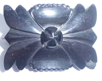 Antique Victorian Whitby Jet Mourning Brooch