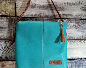 Summer turquoise bag, high quality leather , womens handmade bag , shoulder handbags, blue handbag, large leather bag, leather tote bag