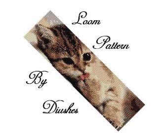 Loom beading pattern Bracelet Kitty. Beaded pattern, peyote pattern, beadwork cat, little kitty, seed bead pattern, loom stitch