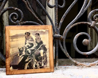Harley Davidson J JD Vintage Motorcycle and Girls Wooden Picture Wall Decor Home Decor