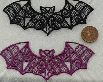 Set of 2 LARGE gothic lace bat applique, trimming, choker centerpiece, various colours