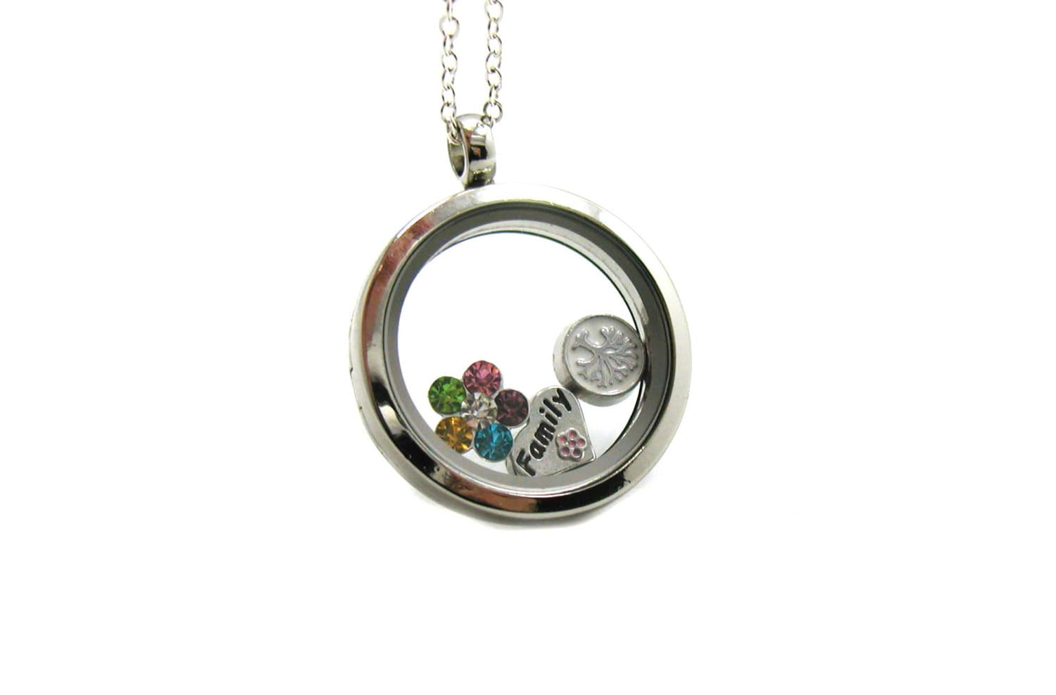necklace necklaces amazon bamboo dp charming clearly charm floating with com locket pendant lockets chain round jewelry