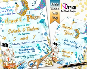 Mermaid pirate invitation, pirate mermaid birthday invitation, under the sea birthday invitation, siblings invite,twins invite,under the sea